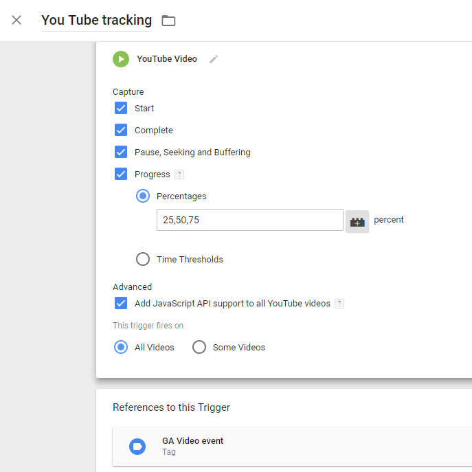 YouTube tracking GTM trigger